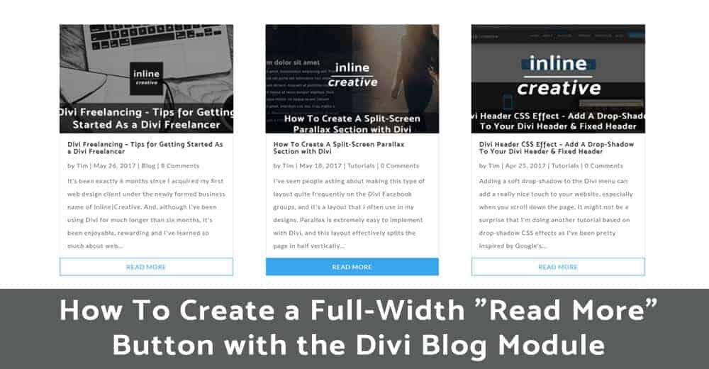 How to create a fullwidth divi read more button with the for How to build a blog