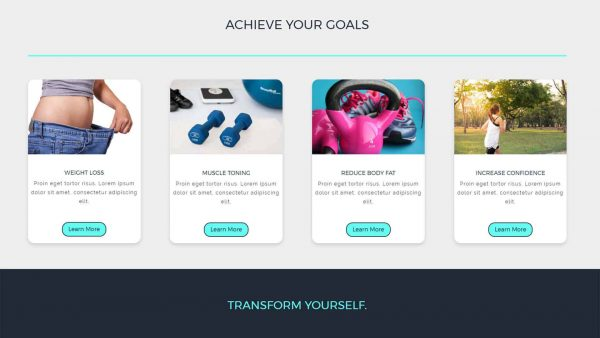 Screenshot of the fitness services section of the divi child theme.