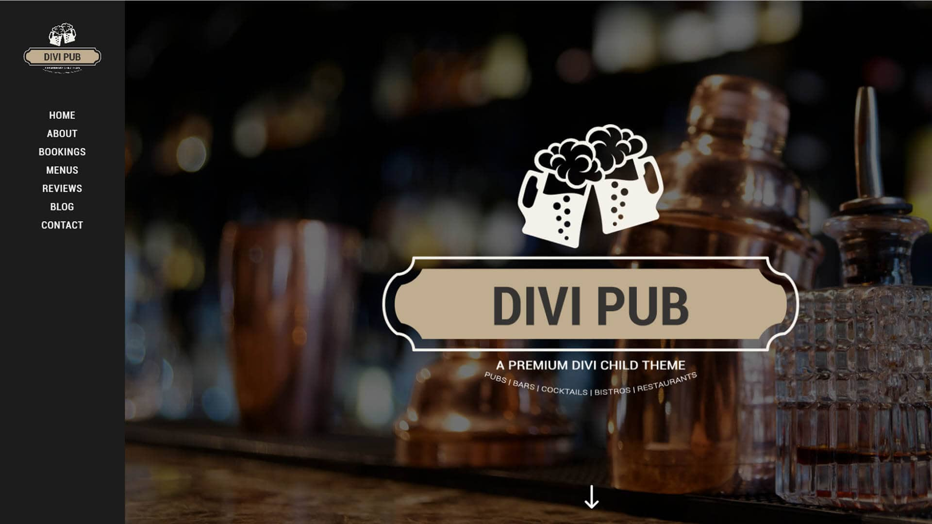 The home page of Divi Pub