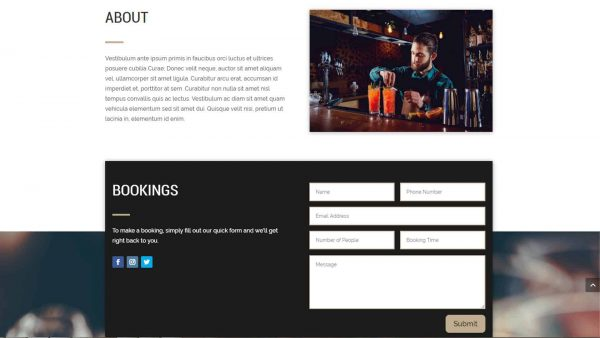 A screenshot showing the About section and the Booking contact form of Divi Pub